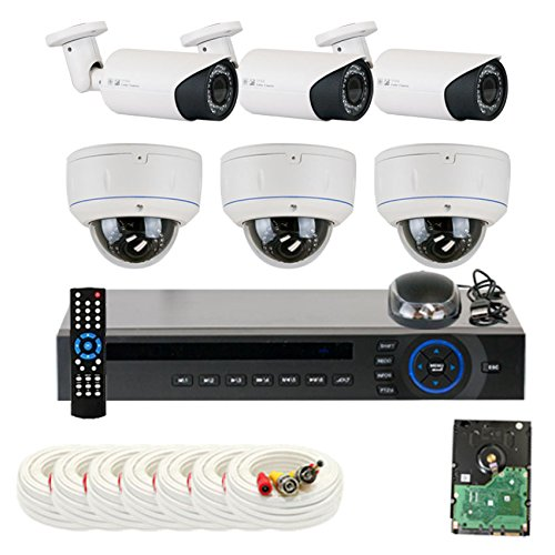 """Professional 8 Channel H.264 Dvr 500G With 6 X 1/3"""" Hdis Ccd Security Camera, 650Tv Line, 2.8~12Mm Manual Varifocal Lens. One Is 42Pcs Infrared Led, 114 Feet Ir Distance And One Is 30Pcs Infrared Led, 65 Feet Ir Distance. Iphone, Android Viewing, Hdmi & V"""