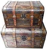 Aoakua 超特大!  海賊木箱 アンティーク調 宝箱 特大サイズ と 大サイズ のセット