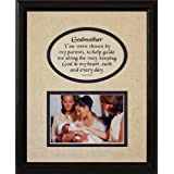 8x10 GODMOTHER Picture & Poetry Photo Gift Frame ~ Cream/Navy Blue Mat With BLACK Frame ~ Heartfelt Keepsake Picture...