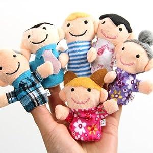 Peluche molle famille Marionnette de doigt a placé le tissu poupées jouet d'assistance 6pcs