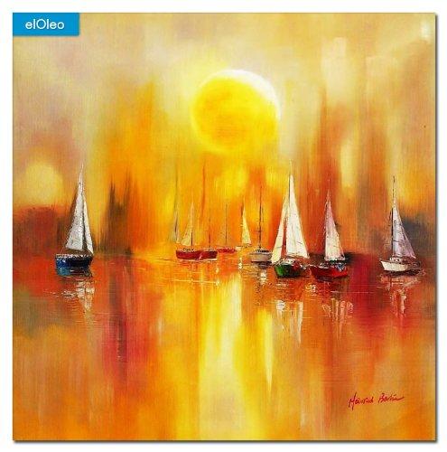 elOleo Segelboote auf dem Gardasee 80×80 Gemälde auf Leinwand handgemalt 83478A günstig kaufen