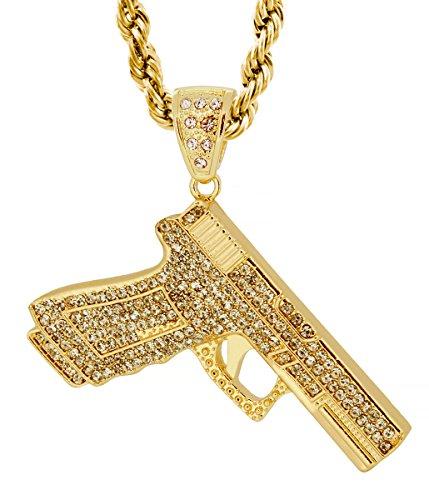 Gold Tone 9MM Glock Hand Gun Pendant with Free 30