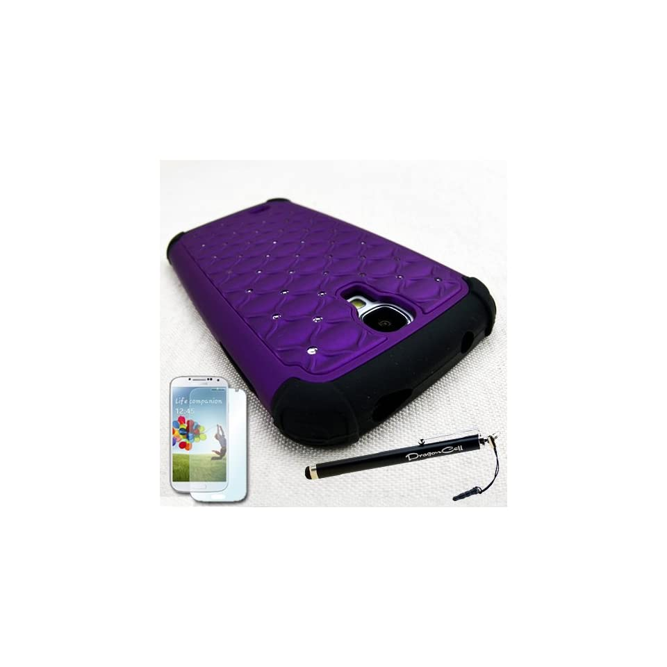 MINITURTLE(TM) Samsung Galaxy S4 SIV i9500 Purple Diamond Rhinestone Patterned Hybrid Hard Protector Case Cover with Screen Protector Film and Large Stylus Touch Screen Capacitive Pen Cell Phones & Accessories