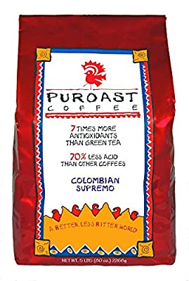Puroast Low Acid Coffee Colombian Supremo Blend Whole Bean, 5-Pound Bag