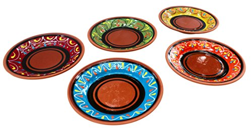 Terracotta Tapa Plates Set of 5 - Hand Painted From Spain (Mexican Salsa Plate compare prices)