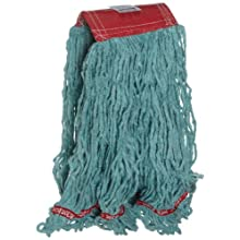 "Rubbermaid Commercial FGA15306 Web Foot Wet Mop, Large, 5"" Red Headband, Green"
