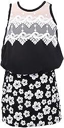 Sheetal Fashion Girls' Chiffon Dress (SF-33_6-12 Months, Black & White)