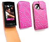Emartbuy LG GM360 Viewty Snap Diamante Premium Cerise Pink / Tan Flip Case/Cover/ Pouch