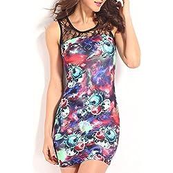 ABILIO - vestito donna vestiti fiori vestitino pizzo tubino multicolore floreale abito abiti mini_BLU_L