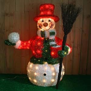 Large Pre Lit Snowman With Jacket Broom Christmas Decoration Illuminate