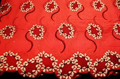 Coral,high Class Poly Cotton Embroidery Voile Lace Fabric in 10 Colors, Voile Textile