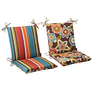 Pillow Perfect Indoor/Outdoor Annie Westport Reversible Squared Chair Cushion, Chocolate by Pillow Perfect