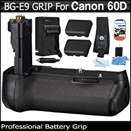 Shooters Kit For Canon EOS 60D Digital SLR Camera Includes Replacement BG-E9 Battery Grip + 2 Pack LP-E6 Replacement (2200Mah) Battery (with Info-Chip! ) + Neoprene SLR Camera Neck Shoulder Strap + Screen Protectors + MicroFiber Cloth + More