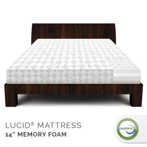 Lucid 14 Inch Firm Memory Foam Mattress - 5.3 Pound Density Ventilated Memory Foam - 100% Certipur-Us Certified Foam - 25-Year Warranty - Queen