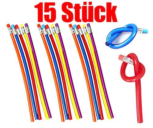 COM-FOUR® Biegsamer Zauber Bleistift ideal für Kinder mit Härtegrad 2B (Farben Mix - 15 Stück)