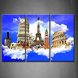 Modern Home Decoration painting 3 Panel Wall Art European Traveling Touristic Background Many Building Pictures Print On Canvas Architecture The Picture piece