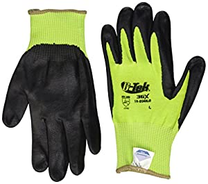 G-Tek 3GX 19-D340LG/L 13-Gauge Dyneema Diamond Technology/Nylon/Lycra Seamless Liner Gloves with Foam Nitrile Coated Palm, Lime Green/Black, Large,  1-Dozen