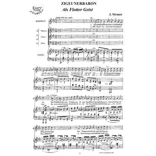 Strauss: Der Zigeunerbaron - Als flotter Geist - Barinkay, tenor: Instantly download and print sheet music Strauss