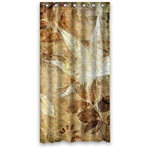 custom draw leaves fashion shower curtain 36 inch by 72 inch home kitchen. Black Bedroom Furniture Sets. Home Design Ideas