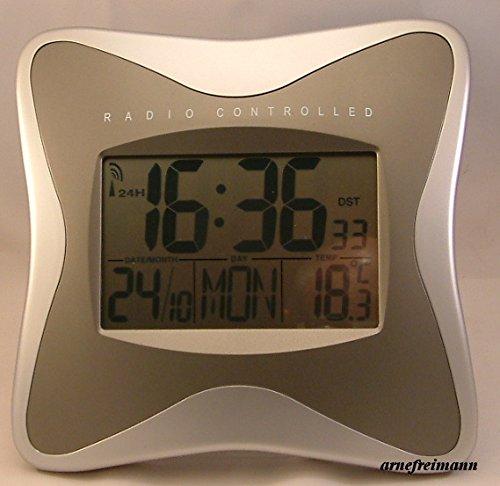 Funkuhr, Wandfunkuhr Funkwecker Standuhr Datum, Temperatur digital LCD