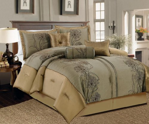 Simple  Piece Queen Peyton Olive and Gold Bed in a Bag w TC Cotton Sheet Set
