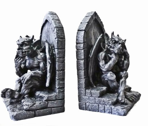 Gothic Gargoyle Bookends Stone Finish Dragon Book Ends Home Garden Decor