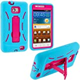 Baby Blue / Hot Pink Hybrid Rugged Hard Silicone Case Cover w/ Stand for Samsung Galaxy S2 i9100 / Attain i777