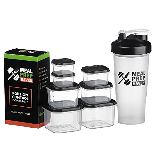 Meal Prep Haven 7 Piece Portion Control Container Kit with Guide and Protein Shaker Bottle, Black Lids (Aluminum Building Kits compare prices)