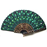 Beautiful Lady's Silk Hand Fan with Green Sequins (As shown)