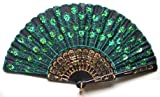 Beautiful Ladys Silk Hand Fan with Green Sequins (As shown)