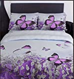 RAYYAN LINEN'S 3D EXCLUSIVE DESIGNS DUVET QUILT COVER BEDDING SET WITH PILLOWCASE(S) AVAILABLE IN SIZE SINGLE DOUBLE KING MANY COLOURS (3D BUTTERFLY PURPLE, DOUBLE)