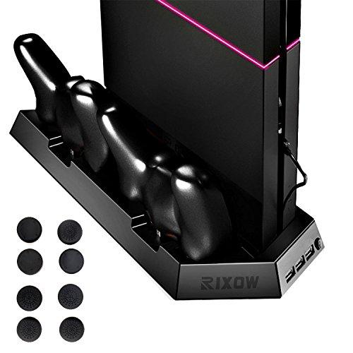 Soporte Vertical de PS4, Rixow Estación de Carga con Ventilador de Gran Velocidad para Playstation 4 con 8 Casquillos Dominantes Protector, Color Negro.