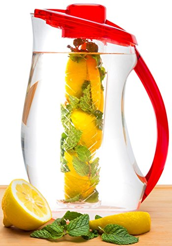 Fruit Infusion Pitcher | Gorgeous Large 3.2 Quart Capacity Water Infuser Pitcher & BONUS Gourmet Recipe eBook | Enjoy Endless Infused Creations (Glass Fusion Pitcher compare prices)