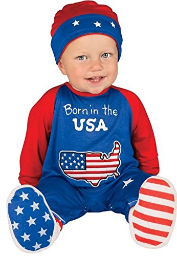 Rubie's Costume Baby's First Halloween Pint Size Patriot One-Piece Printed Jumper Hat and Booties, Multicolor, 0-6 Months