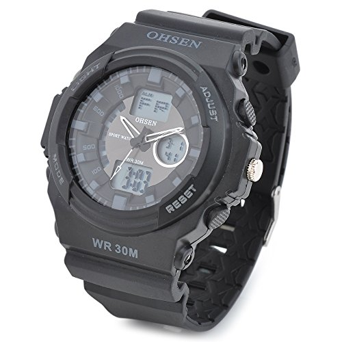 Peleustech® Ohsen Ad1216-B Men'S Sport Quartz Analog + Digital Waterproof Wrist Watch
