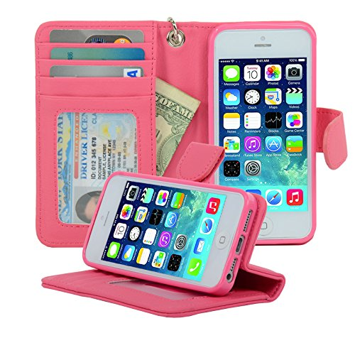 Navor iPhone Life Protective Deluxe Book Style Folio Wallet Leather Case for iPhone 5 & iPhone 5S ( Hot Pink ) (Hot Pink Iphone 5 Case compare prices)