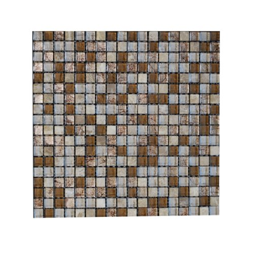 Glass Tile and Stone Stainless Mosaic Backsplash