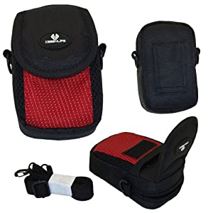 Case4Life Red/Black Nylon Soft Shockproof Splashproof Digital Camera Case Bag for Canon Powershot + Elph A, SX, S Series inc A3500, SX600, SX610 HS, SX240 HS, SX270 HS, SX280 HS, S120, S200, A1400, A2400 IS - Lifetime Warranty