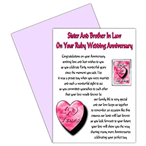 Wedding Anniversary Gift For Brother And Sister In Law : Sister & Brother In Law 40th Wedding Anniversary Card With Removable ...