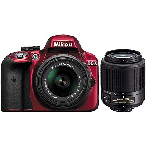 Nikon-D3300-Digital-SLR-Camera-18-55mm-G-VR-DX-II-AF-S-Zoom-Red-with-55-200mm-DX-AF-S-ED-Zoom-Nikkor-Lens