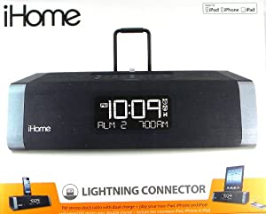 iHome Dual Charging Stereo FM Clock Radio With Lightning Dock