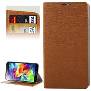 Wood Texture Leather Case with Credit Card Slots & Holder for Samsung Galaxy S5 G900 in Brown
