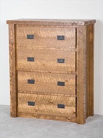 Barnwood 4 Drawer Log Chest (Honey Pine Barnwood)