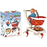 2-in-1 Deluxe Supermarket Shopping Cart with Basket, Play Food & Doll Seat