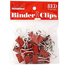 JAM Paper Binder Clips - Small - 19mm - Red Binderclips - 25/pack