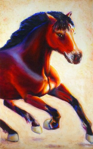 "001003 Contemporary Canvas Wall Art – REGISTERED Authentic Artwork ""The Good Luck Horse"" By Lena Kashigin, Artist Hand Finished and Signed, 20×32 Stretched Gallery Wrap Ready to Hang, National Fine Arts Registry Title."