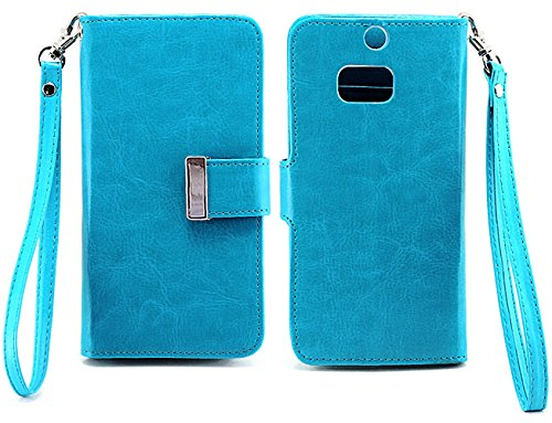 Mylife (Tm) Deep Sky Blue {Smooth Color Design} Faux Leather (Card, Cash And Id Holder + Magnetic Closing) Slim Wallet For The All-New Htc One M8 Android Smartphone - Aka, 2Nd Gen Htc One (External Textured Synthetic Leather With Magnetic Clip + Internal