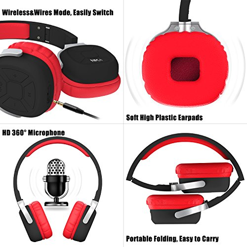 OXA Wireless Bluetooth Headset Foldable Noise Cancelling Sport Headphones with Microphone, NFC and Pedometer for TV Smartphone Devices, Black & Red