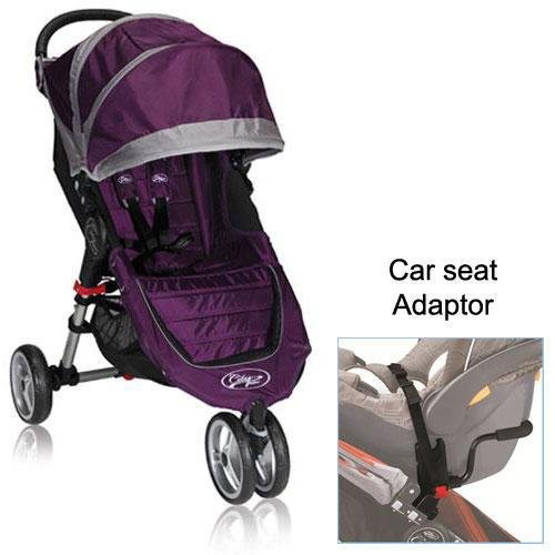 Baby Jogger City Mini Stroller In Purple With A Car Seat Adapter front-848737