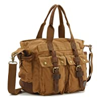 Donner Men Women Cross Body Retro Fashion Casual Style Messenger Khaki Canvas School Travel Shoulder Bag Handbag with Cow Leather from Donner